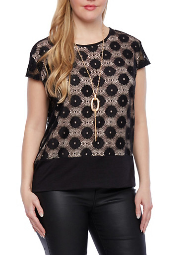 Plus Size Embroidered Lace Top with Removable Necklace and Knit Hem,BLACK,large