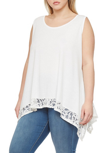 Plus Size Tank Top with Lace Sharkbite Hem,IVORY,large