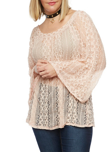 Plus Size Lace Peasant Top with Bell Sleeves,BLUSH,large