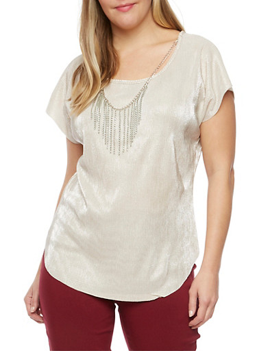 Plus Size Crinkled Top with Necklace,SILVER/IVORY,large