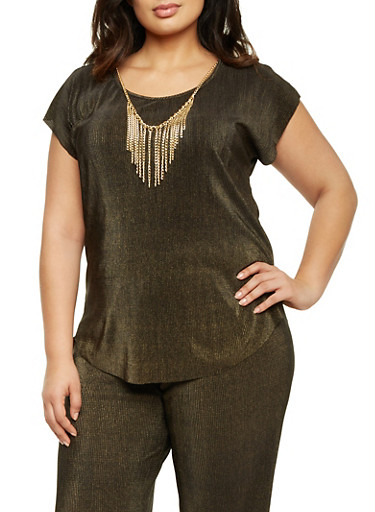 Plus Size Crinkled Top with Necklace,BLACK/GOLD,large