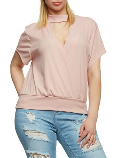 Plus Size Short Sleeve Rib Knit Choker Top,BLUSH,large