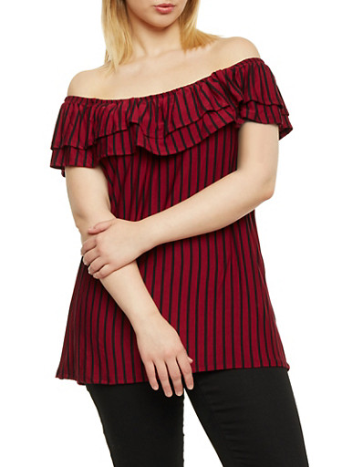Plus Size Off the Shoulder Top with Stripes,BLACK/RUBY,large