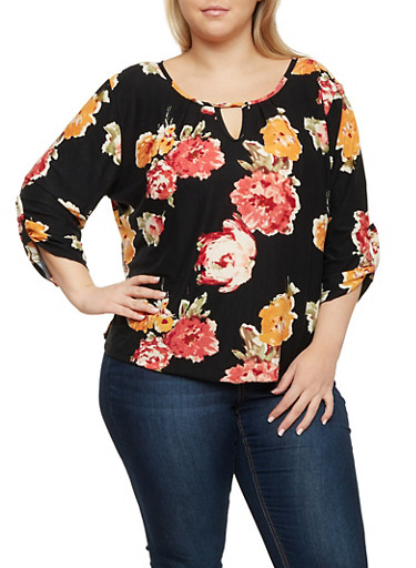 Plus Size Printed Top with Keyhole Cutout,MAUVE,large