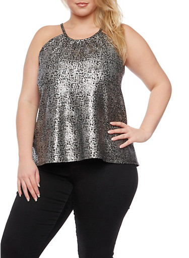 Plus Size Tank Top with Metallic Print,BLK/SILVER,large