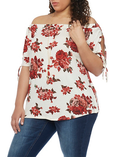 Plus Size Floral Off the Shoulder Top with Necklace,IVORY,large