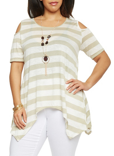 Plus Size Cold Shoulder Striped Asymmetrical Top with Necklace,SAGE,large