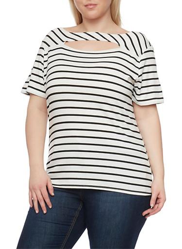Plus Size Striped Cut Out T Shirt,IVORY/BLACK,large