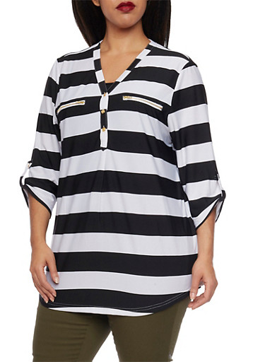 Plus Size Striped Top with Faux Zipper Pockets,BLACK,large