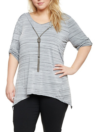 Plus Size Sharkbite Top with Faux Necklace,GRAY,large