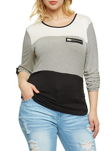 Plus Size Striped Top with Zip Accent,BLACK,large