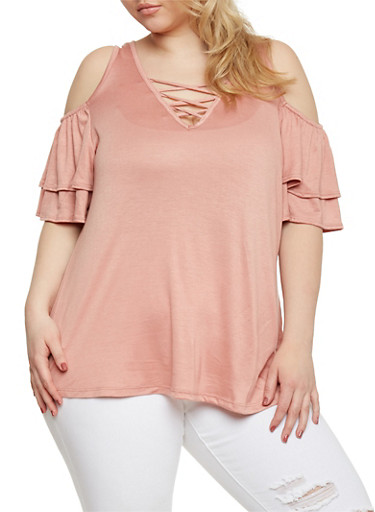 Plus Size Cold Shoulder Top with Caged V Neck,MAUVE,large
