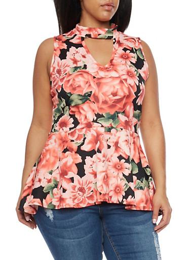 Plus Size Floral Peplum Scuba Knit Top,BLACK,large