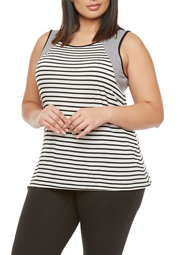 Plus Size Sleeveless Top with Mixed Stripes,WHITE,large