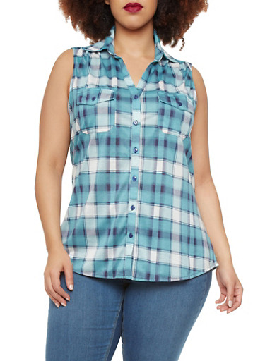 Plus Size Sleeveless Plaid Shirt with Buttoned Front,TURQUOISE,large