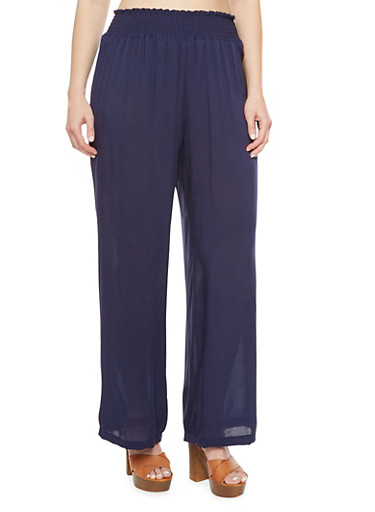 Plus Size Palazzo Pants with Smocked Waist,NAVY,large