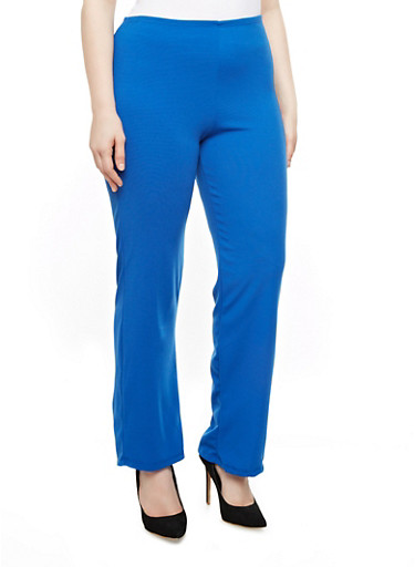 Plus Size Solid Knit Trousers,ROYAL,large