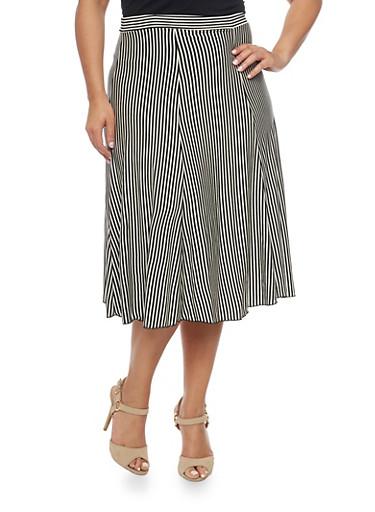 Plus Size Striped A Line Midi Skirt,BLACK,large
