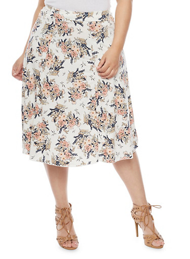 Plus Size Floral A Line Skirt,IVORY,large