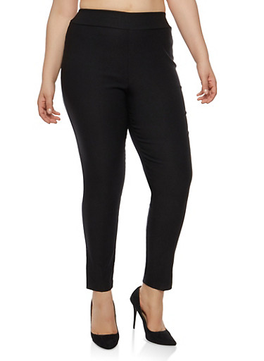 Plus Size Basic Skinny Dress Pants,BLACK,large