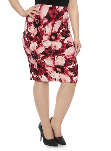 Plus Size Pencil Skirt in Floral Print,WINE,large