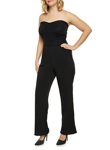 Plus Size Strapless Jumpsuit with Cutout Back,BLACK/GOLD,large