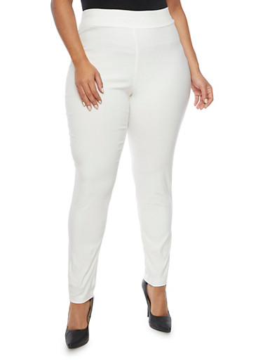 Plus Size Skinny Pants in Stretch Knit,IVORY,large