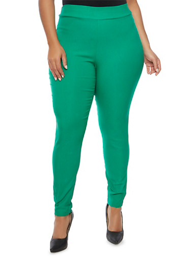 Plus Size Stretch Knit Skinny Pants,KELLY GREEN,large