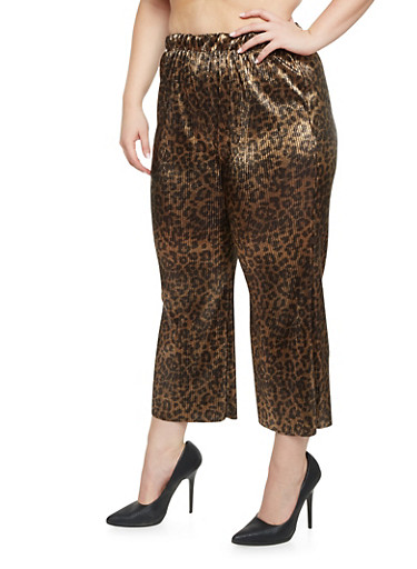 Plus Size Palazzo Pants in Crinkled Knit,BLACK LEOPARD,large