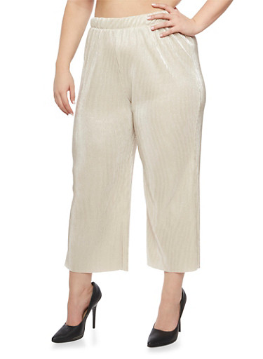 Plus Size Palazzo Pants in Crinkled Knit,SILVER/IVORY,large