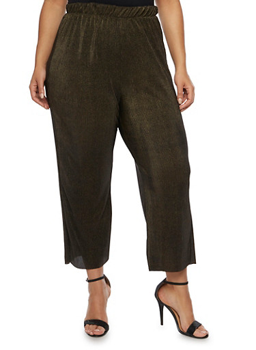 Plus Size Palazzo Pants in Crinkled Knit,BLACK/GOLD,large