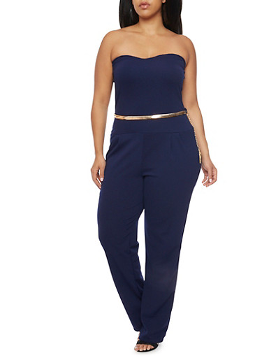 Plus Size Strapless Jumpsuit with Belt,NAVY,large