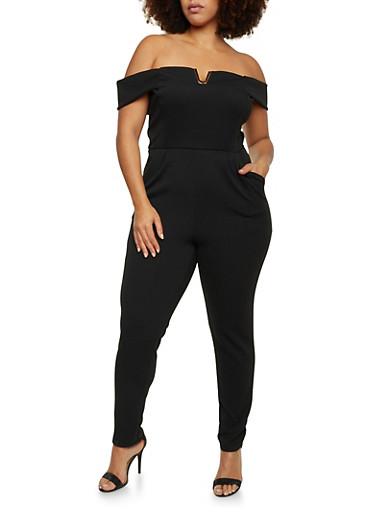 Plus Size Off the Shoulder Jumpsuit,BLACK,large