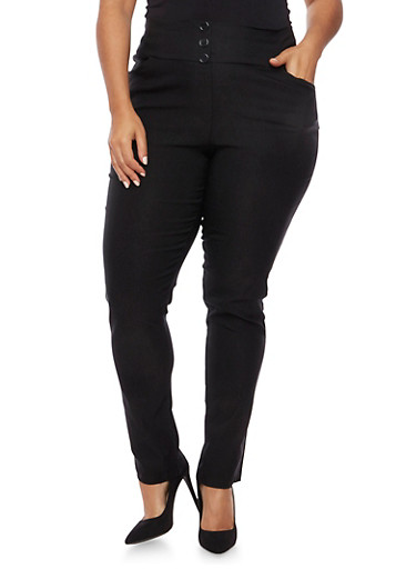 Plus Size High Waisted Stretch Pants with Buttons,BLACK,large