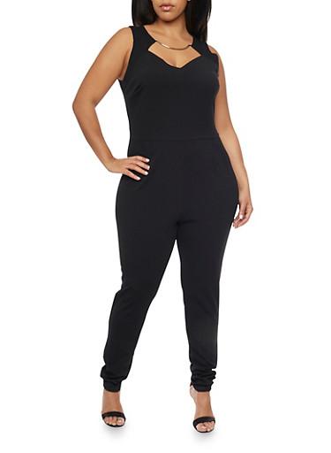 Plus Size Jumpsuit with Faux Collar Necklace,BLACK,large