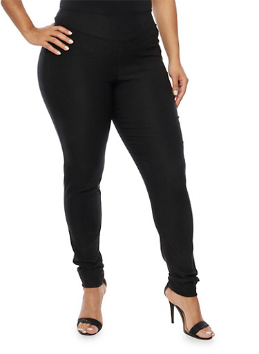 Plus Size Skinny Pants in Stretch Knit,BLACK,large