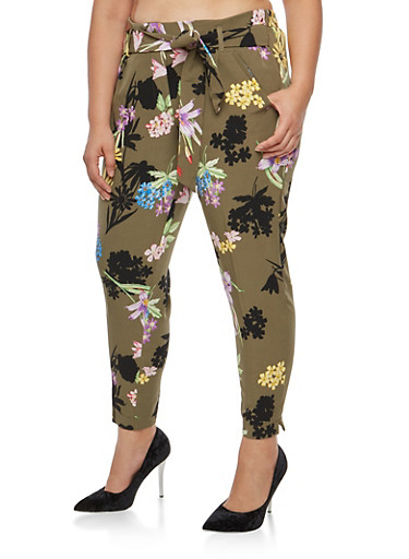 Plus Size Floral Pleated Tie Front Pants at Rainbow Shops in Jacksonville, FL | Tuggl