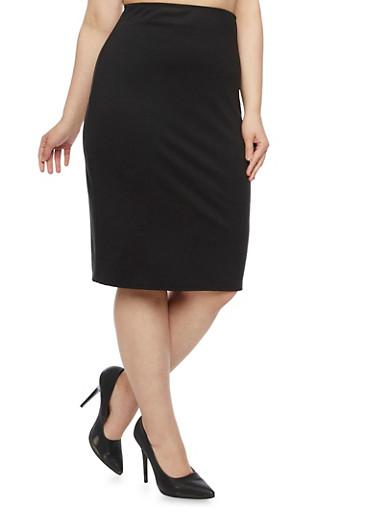 Plus Size Solid Midi Pencil Skirt,BLACK,large