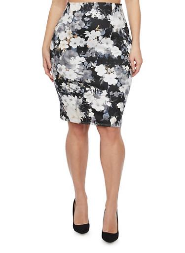 Plus Size Pencil Skirt with Floral Print,BLACK,large