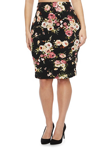 Plus Size Pencil Skirt in Floral Print,BLACK/MAUVE,large