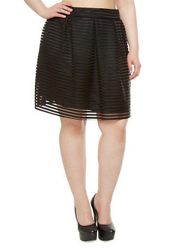 Plus Size Flared Mini Skirt with Sheer Stripes and Pleats,BLACK,large