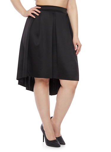 Plus Size Pleated Skirt with High Low Hem,BLACK,large