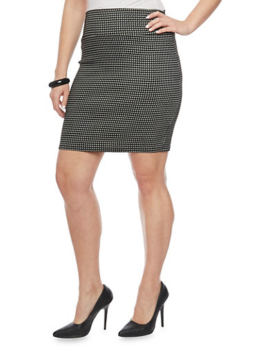 Plus Size Jacquard Short Pencil Skirt,BLACK/WHT,large