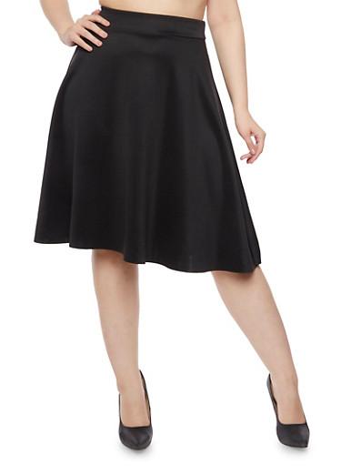Plus Size A Line Skirt,BLACK,large