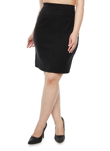 Plus Size Pencil Skirt in Stretch Twill,BLACK,large