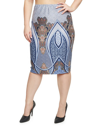 Plus Size Pencil Skirt in Mixed Print,NAVY,large