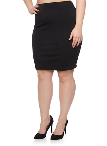 Plus Size Pencil Skirt in Stretch Knit,BLACK,large