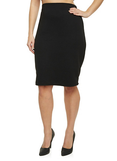 Plus Size Midi Pencil Skirt in Ribbed Knit,BLACK,large
