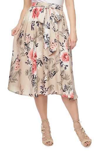 Plus Size Tie Front Floral Midi Skater Skirt,TAUPE,large