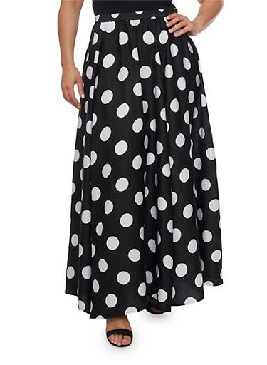 Plus Size Polka Dot Maxi Skirt,BLACK,large